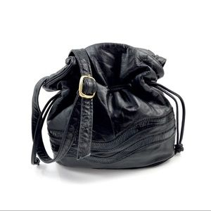1980's black leather mini drawstring purse
